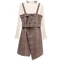 2018春季新款女小香风时尚格纹吊带开叉套装法式少女连衣裙两件套 卡其色