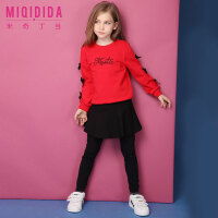 米奇丁当2018女童套装春装新款洋气蝴蝶结红色公主裤裙儿童两件套