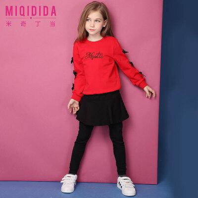 【满200减100】米奇丁当2018女童套装春装新款洋气蝴蝶结红色公主裤裙儿童两件套