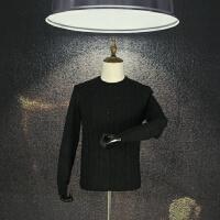国内单 剪标毛衣圆领时尚青年冷酷黑色宽松针织衫羊毛衫简约提花