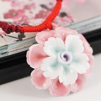 陶瓷项链古风饰品民族风复古青花瓷花朵毛衣链 玫红色 樱花