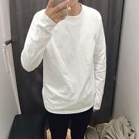 慈姑男士白色长袖T恤棉圆领纯白男女大码宽松修身男装秋冬衣打底衫 白色 长袖 M 长袖