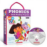 英文原版 Dora The Explorer Phonics Boxset #2(附CD)12册礼盒装 朵拉探险记自然拼读法 朵拉动画片绘本