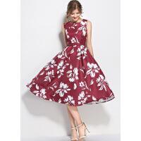 春装新款女韩版无袖打底中长款A字裙修身高腰印花气质连衣裙