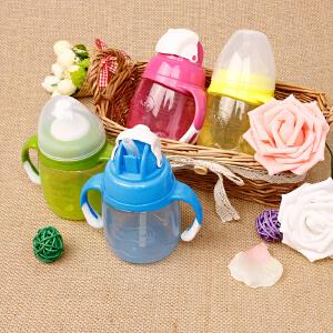 贝亲奶嘴式宝宝杯180ml 带手柄杯宝宝学饮杯婴儿水杯硅胶DA72/73/74/75