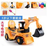 儿童电动车挖掘机可坐可骑可滑行车大号1-4周岁男孩玩具挖土机宝宝工程四轮扭扭车玩具男孩
