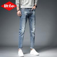 Lee Cooper新款韩版磨白牛仔裤男潮流修身小脚裤子休闲显瘦弹力牛仔裤