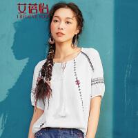 艾蓓怡 文艺复古chic系带流苏刺绣五分袖白衬衫女韩版女装上衣
