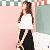 【开门红 1件3折到手价:48】圆领宽松小衫女2020夏季新款韩版上衣蕾丝五分袖喇叭袖娃娃衬衫女