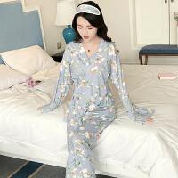 新款和服睡衣女秋季学生薄款套装莫代尔长袖甜美日式宽松家居服
