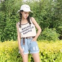女生吊带背心女夏季新款韩版潮学生无袖t恤外穿bf原宿风ulzzang检