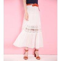 拉夏贝尔 韩版蕾丝镂空百褶裙半身中长裙 10010188