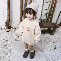 女童装冬装圣诞鹿长款加绒加厚韩版儿童卫衣 女宝宝冬季洋气上衣