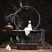 创意家居檀香仿风化木头禅意根雕陶瓷倒流香炉摆件茶道古沉香薰炉