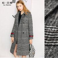 2017秋冬季新款韩版加厚千鸟格子外套女士中长款chic羊毛呢子大衣