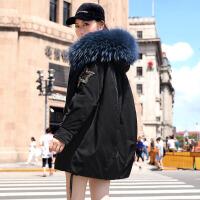 大毛领羽绒服女时尚中长款潮黑色加厚白鸭绒韩版宽松 X