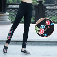 春季新款原创设计民族风女装复古绣花打底裤弹力长裤修身显瘦