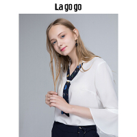 Lagogo2019秋装新款女装白色V领雪纺衫喇叭袖宽松上衣女休闲衬衫HCSS437Q13