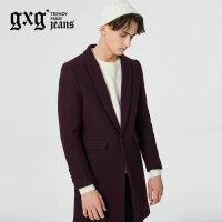 gxg.jeans男装秋冬新品青年酒红羊毛中长款呢大衣潮#64626183