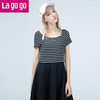 Lagogo/拉谷谷2019夏季新款女装直筒条纹拼接高腰短袖连衣裙女