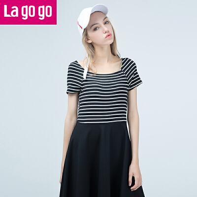 Lagogo/拉谷谷2017夏季新款女装直筒条纹拼接高腰短袖连衣裙女