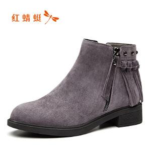 红蜻蜓女鞋秋冬休闲鞋鞋子女女靴子短靴WNC7011