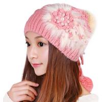 女士秋冬新款韩版潮毛线可爱帽子保暖粉/白色护耳针织帽