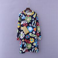 春秋款女装时尚百搭气质中长 圆领宽松潮流印花长袖连衣裙X12