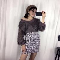 (20)冬季时尚套装女V领长袖须须上衣+毛呢半身裙两件