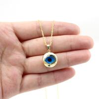 蓝眼睛14k金吊坠3D立体项链女生日礼物转运Evil Eye恶魔眼