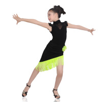 2019 儿童流苏拉丁舞蹈裙女童现代舞服短袖套装 少儿国标舞表演服装 (黑+果绿)套装