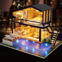 diy小屋成人手工制作拼装房子模型别墅玩具创意情人节生日礼物