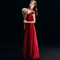 敬酒服新娘2018新款秋季气质红色答谢宴订婚结婚晚礼服女显瘦长款 酒红色