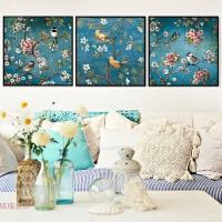 十字绣新款客厅小幅花卉鸟语花香简约现代三联卧室画满秀