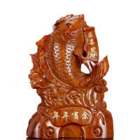工艺品 家居饰品礼品木雕年年有余红木实木吉祥创意摆件