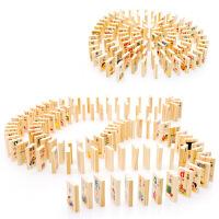 100片人物物体趣味知识多米诺骨牌 儿童拼音识字积木玩具