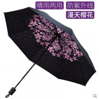 雨伞遮阳防晒防紫外线加厚黑胶小黑伞三折女小清新晴雨伞两用