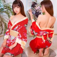 霏慕 性感印花和服日系制服套装宽松情趣内衣睡衣裙女v领诱惑女骚