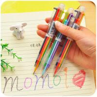 韩国创意文具 可爱多色圆珠笔 透明杆多功能按动彩色油笔 6支笔芯