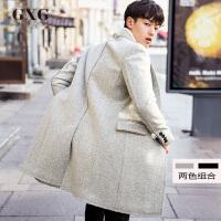 GXG毛呢大衣男装 冬季男士时尚都市中长款休闲夹棉毛呢大衣外套