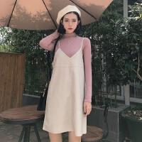 春季韩版chic风半高领打底衫T恤无袖吊带连衣裙皮裙两件套女中裙