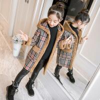 女童外套秋冬装2018新款中长加绒加厚中大儿童韩版大衣毛呢子风衣