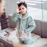 儿童法兰绒睡衣套装秋冬季中大童女童珊瑚绒加厚款家居服小女孩冬