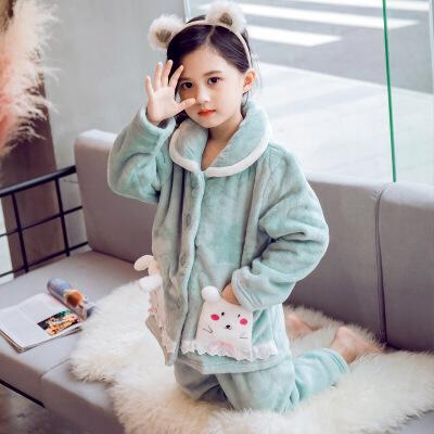 儿童法兰绒睡衣套装秋冬季中大童女童珊瑚绒加厚款家居服小女孩冬 发货周期:一般在付款后2-90天左右发货,具体发货时间请以与客服协商的时间为准