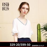 2018夏装V领喇叭袖上衣白色短袖宽松雪纺甜美衬衫女