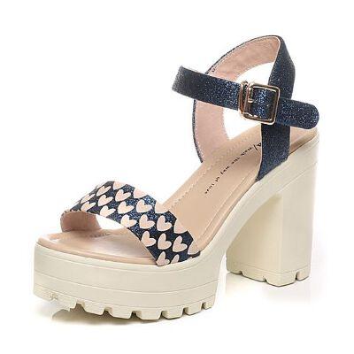 Tata/他她夏季专柜同款亮片布女凉鞋2W110BL6