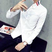 男士衬衫GD同款条纹拼接男女情侣款修身长袖白色牛津纺衬衣