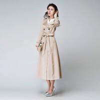 春季新款长风衣女装外套女士韩版修身显瘦气质大码长款大衣 米白色 卡其色