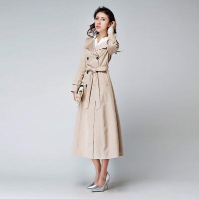 春季新款长风衣女装外套女士韩版修身显瘦气质大码长款大衣 米白色 卡其色 发货周期:一般在付款后2-90天左右发货,具体发货时间请以与客服协商的时间为准