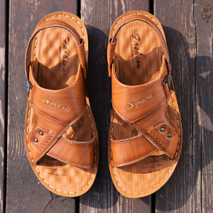 宜驰 EGCHI 凉鞋男士头层牛皮夏季男士皮凉鞋子沙滩鞋 11330